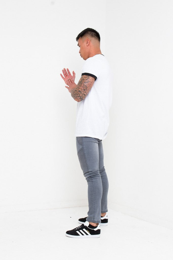 HARLEY SKINNY BIKER JEANS IN WASHED GREY - Liquor N Poker  Liquor N Poker