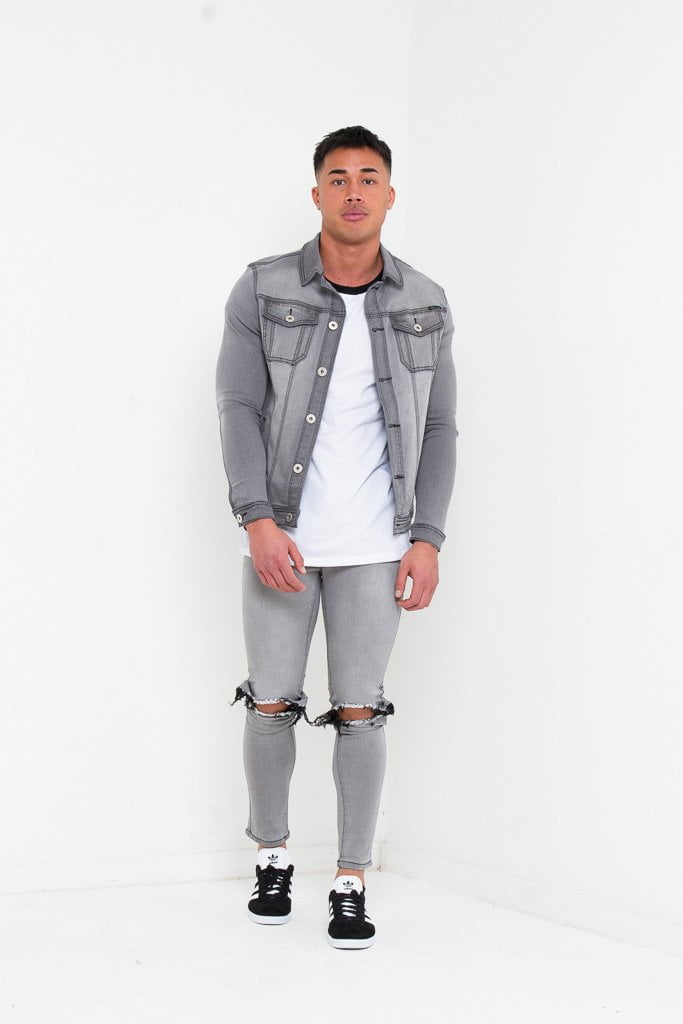 d1ee93275a7 LOGAN SKINNY JEANS WITH RIPPED KNEE IN WASHED GREY - Liquor N Poker Liquor  N Poker