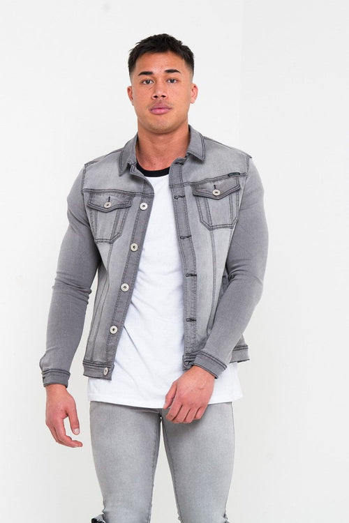 MUSCLE FIT STRETCH DENIM JACKET IN CHARCOAL GREY - Liquor N Poker  Liquor N Poker