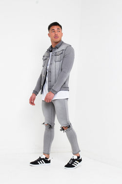 LOGAN SKINNY JEANS WITH RIPPED KNEE IN WASHED GREY - Liquor N Poker  Liquor N Poker