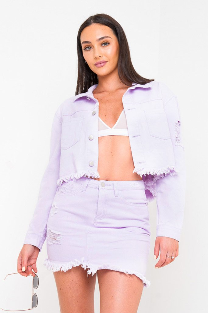 DAKOTA MINI DISTRESSED DENIM SKIRT IN LILAC - Liquor N Poker  Liquor N Poker