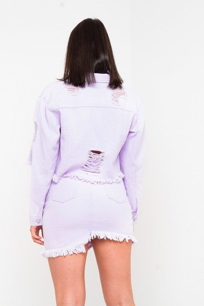 DELAWARE CROPPED DENIM JACKET IN LOVELY LILAC - Liquor N Poker  Liquor N Poker