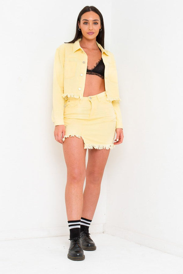 DELAWARE CROPPED DENIM JACKET IN SOFT LEMON - Liquor N Poker  Liquor N Poker