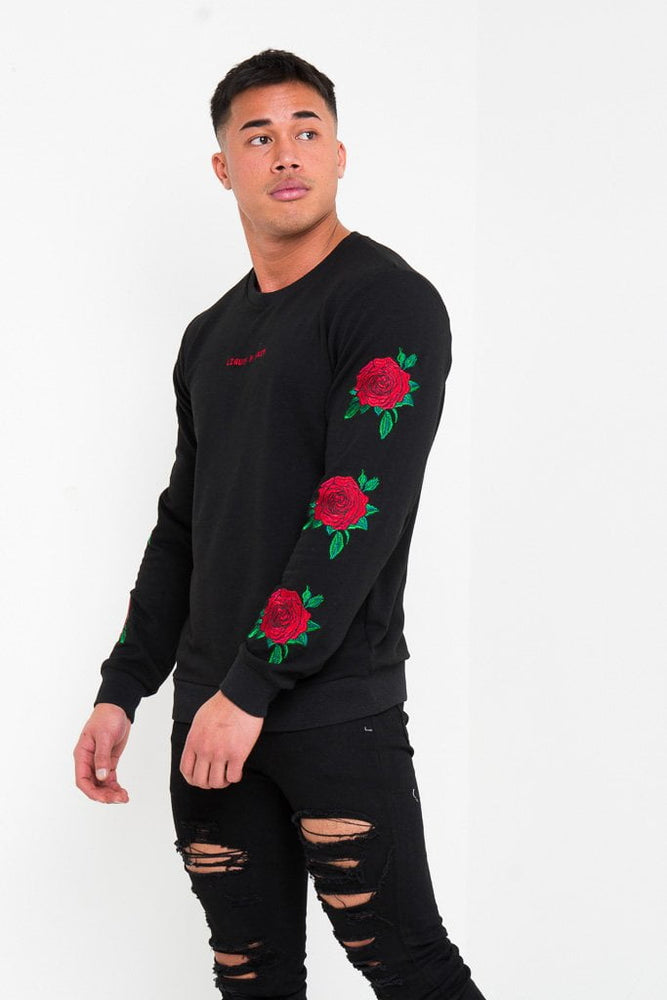 ROMEO FITTED SWEATER WITH ROSE EMBROIDERY - Liquor N Poker  LIQUOR N POKER