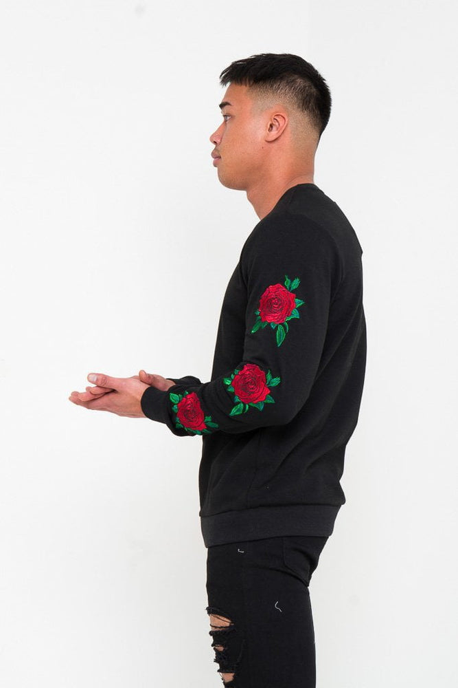 ROMEO FITTED SWEATER WITH ROSE EMBROIDERY