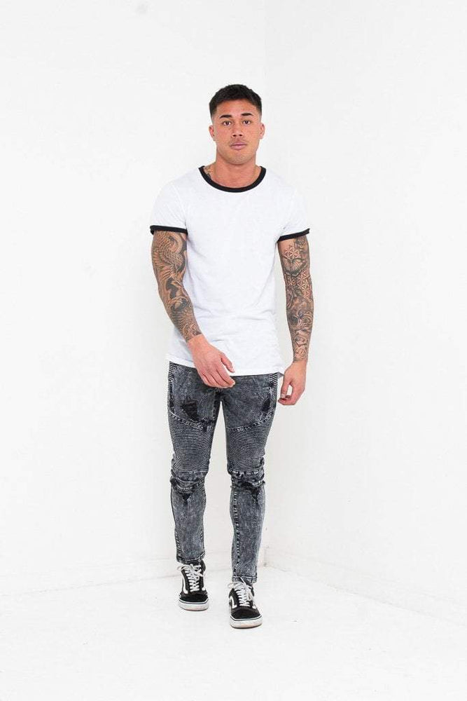 HARLEY SKINNY BIKER JEANS IN ACID WASHED BLACK