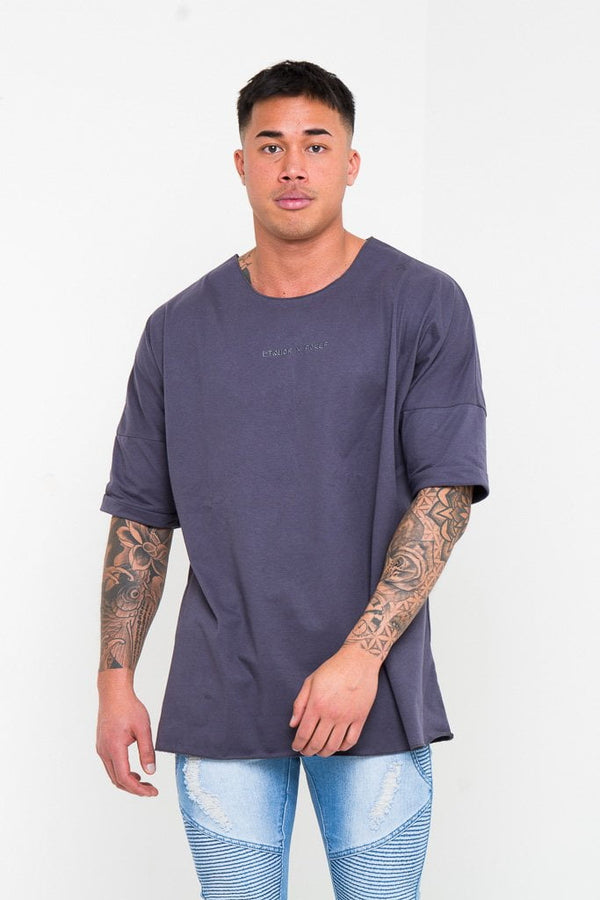 BAYSIDE OVERSIZED ROYAL NAVY T SHIRT - Liquor N Poker  Liquor N Poker