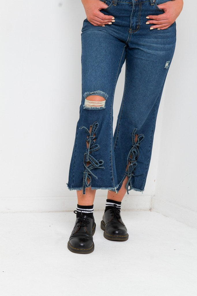 LAX MOM JEAN WITH LACE UP FRONT IN INDIGO - Liquor N Poker  Liquor N Poker