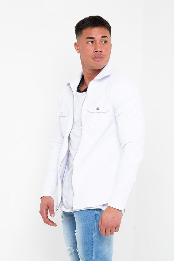 MUSCLE FIT WHITE DENIM SHIRT WITH ZIP