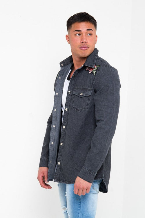TEXAS ROSE EMBROIDERY SHIRT IN WASHED BLACK