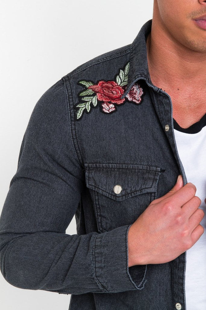 TEXAS ROSE EMBROIDERY SHIRT IN WASHED BLACK - Liquor N Poker  LIQUOR N POKER