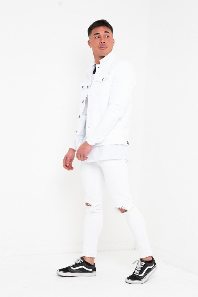 MUSCLE FIT STRETCH DENIM JACKET IN WHITE