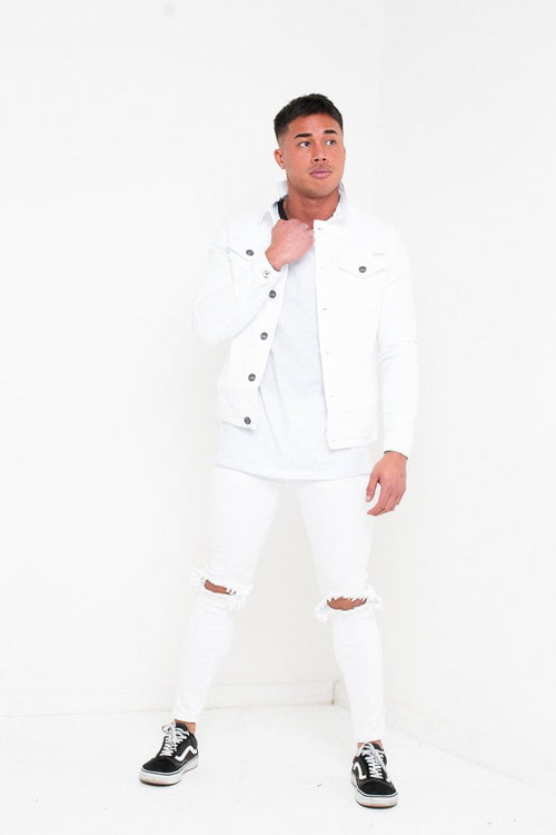 LOGAN SKINNY JEANS WITH RIPPED KNEE IN WASHED WHITE - Liquor N Poker  Liquor N Poker