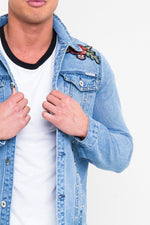 NORTON FITTED DENIM JACKET WITH STUDS AND ROSE EMBROIDERY STONEWASH