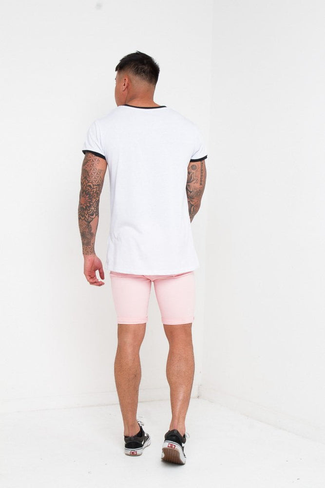 SKINNY FIT STRETCH DENIM SHORTS WITH RIPS IN PINK - Liquor N Poker  LIQUOR N POKER