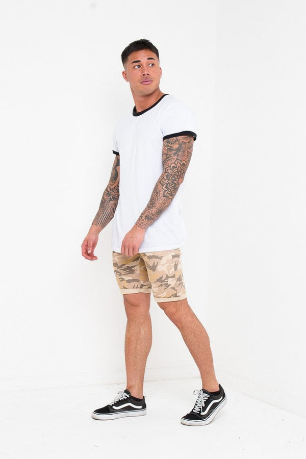 SKINNY FIT SHORTS IN CAMO SAND