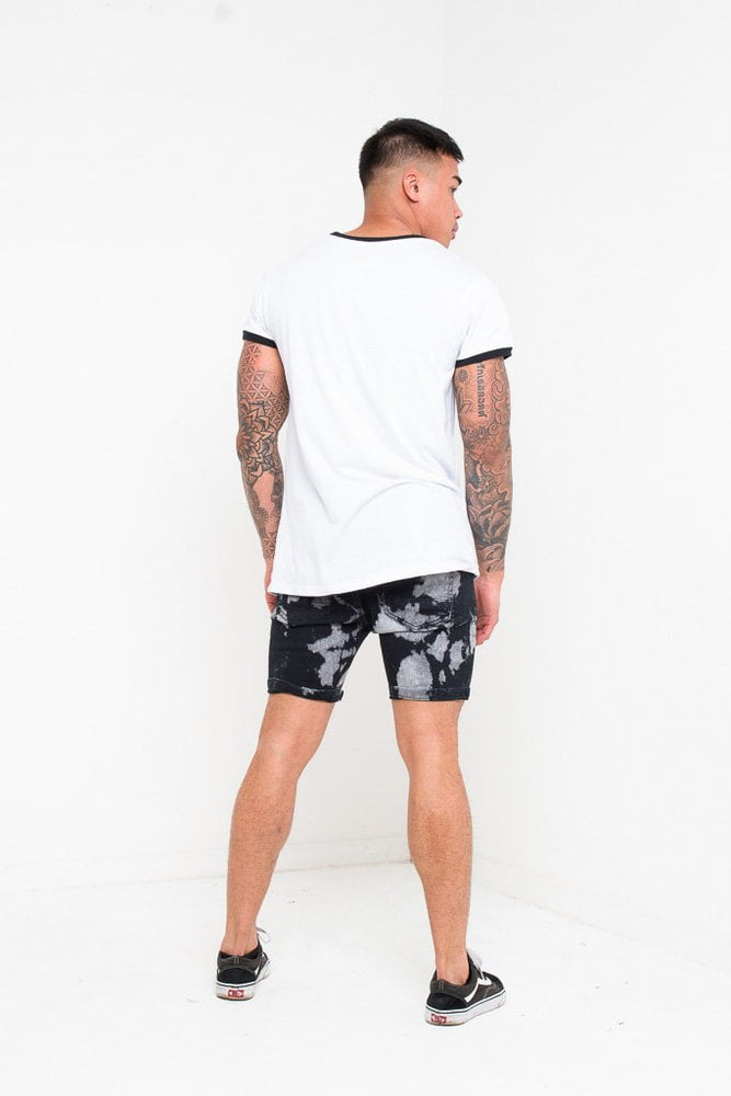 SKINNY FIT SHORTS IN BLACK TIE DYE - Liquor N Poker  LIQUOR N POKER