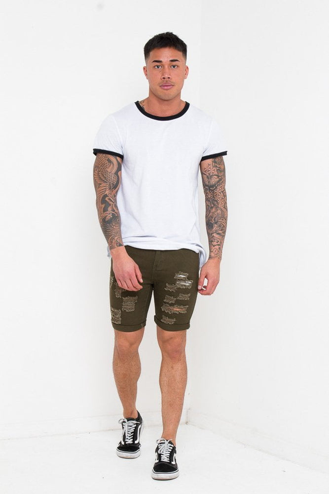 SKINNY FIT STRETCH DENIM SHORTS WITH RIPS IN KHAKI - Liquor N Poker  LIQUOR N POKER