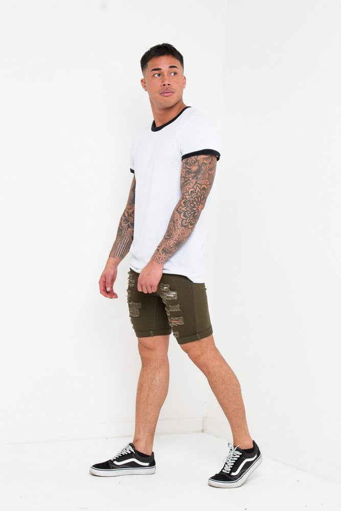 Load image into Gallery viewer, SKINNY FIT STRETCH DENIM SHORTS WITH RIPS IN KHAKI - Liquor N Poker  LIQUOR N POKER