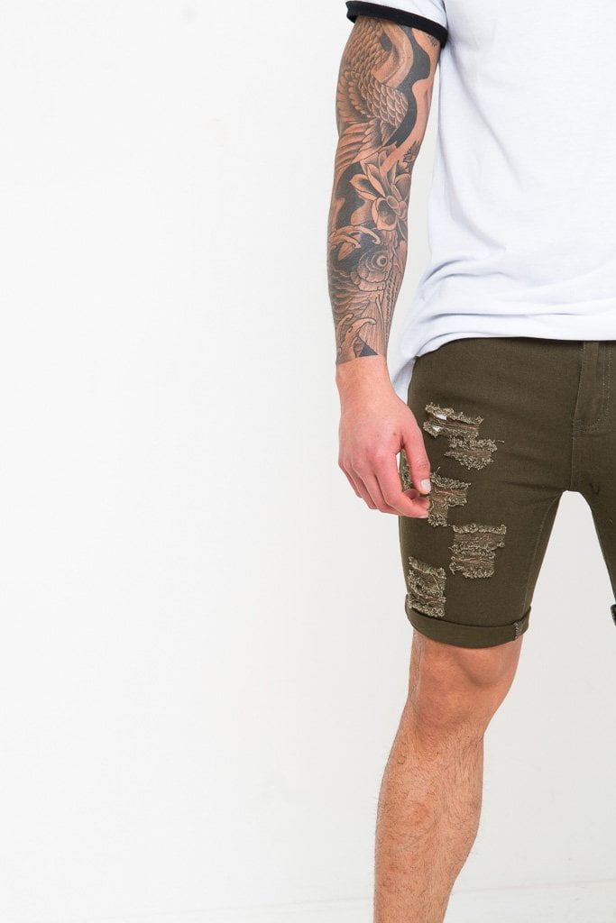 SKINNY FIT STRETCH DENIM SHORTS WITH RIPS IN KHAKI