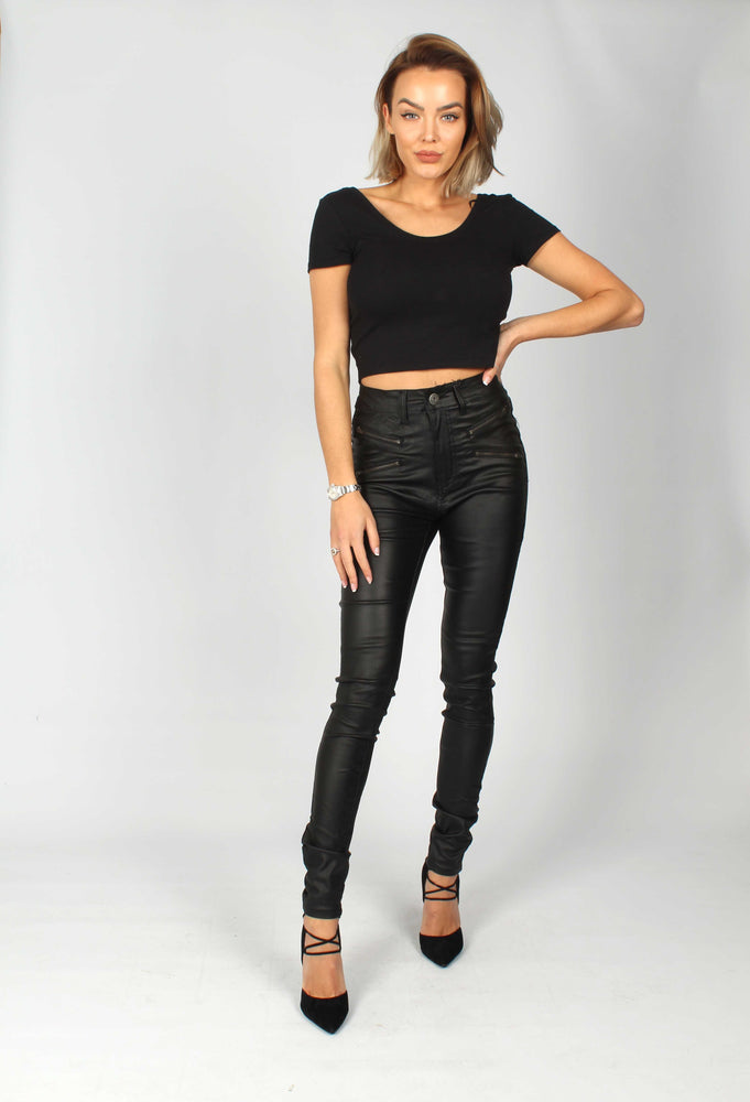 Detroit High Waisted Wax Jeans With Zip Front Pocket