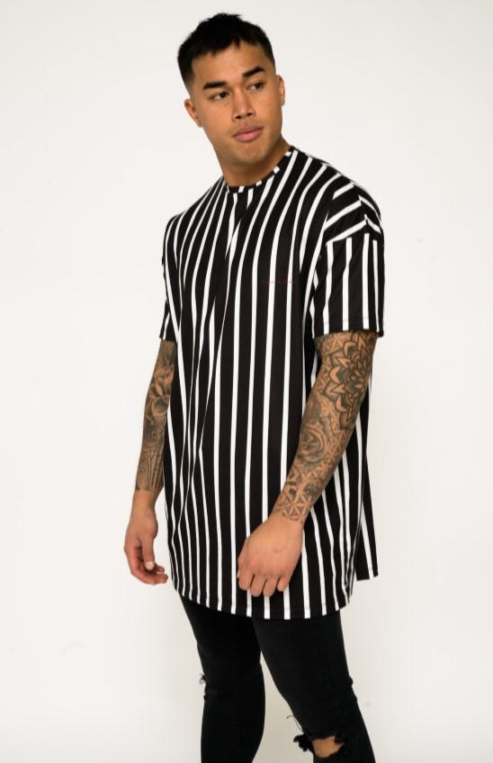 BAYSIDE OVER SIZED STRIPED TEE IN BLACK AND WHITE