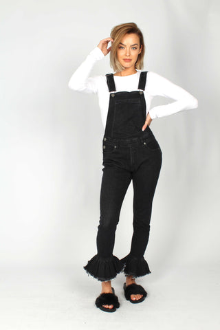 Lizzie Black Full Length Ripped Dungaree