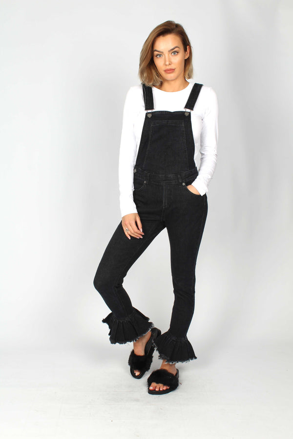 Lizzie Ruffle Dungaree In Stretch Black Denim - Liquor N Poker  Liquor N Poker