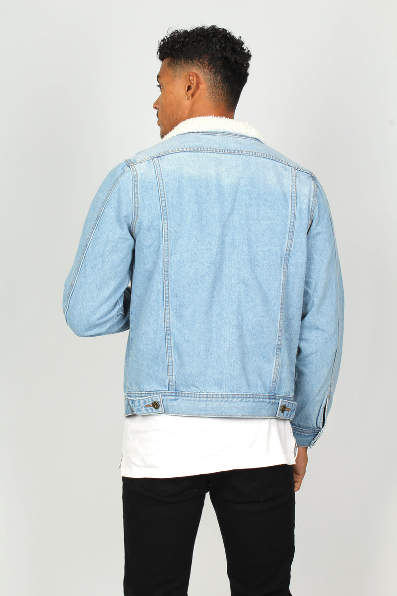 Norton Stonewashed Denim Jacket With Borg Collar And Distressing