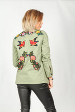 Arizona Mint Green Jacket With Floral Patches