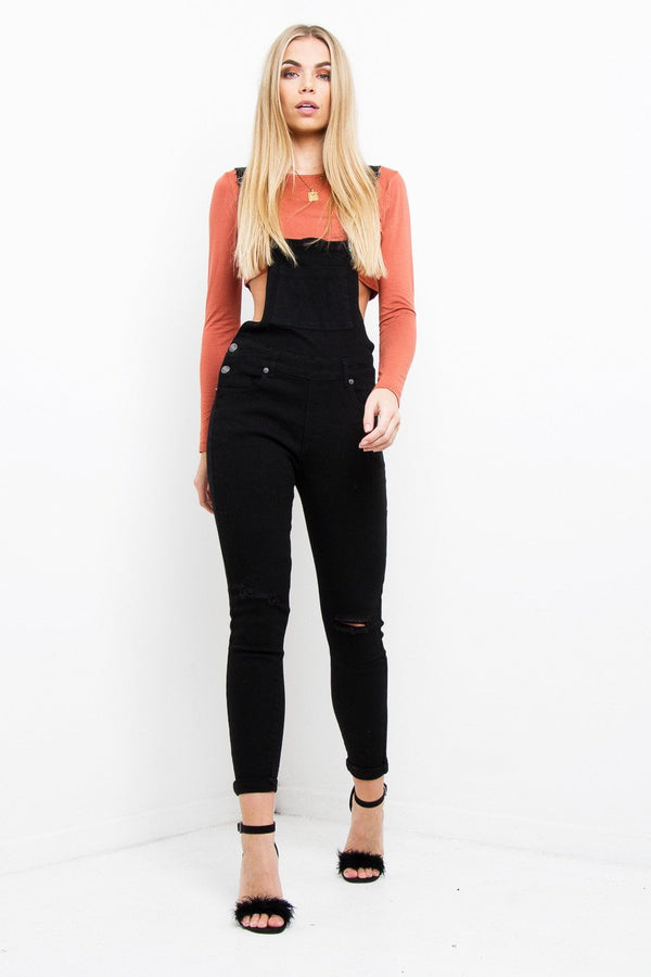 Lizzie Black Dungaree With Embroidery - Liquor N Poker  Liquor N Poker
