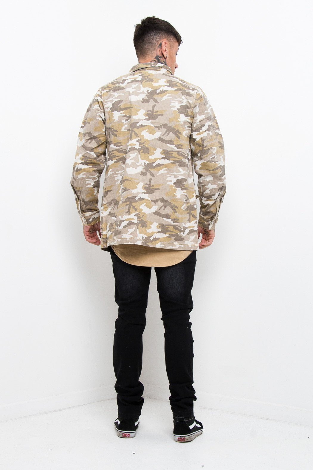 Sand Camo Distressed Jacket - Liquor N Poker  Liquor N Poker