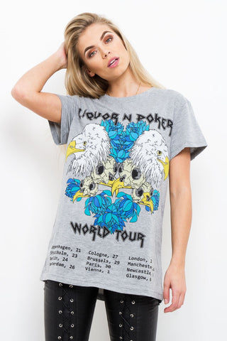 Boyfriend Band T-Shirt Eagles & Roses World Tour In Grey - Liquor N Poker  Liquor N Poker
