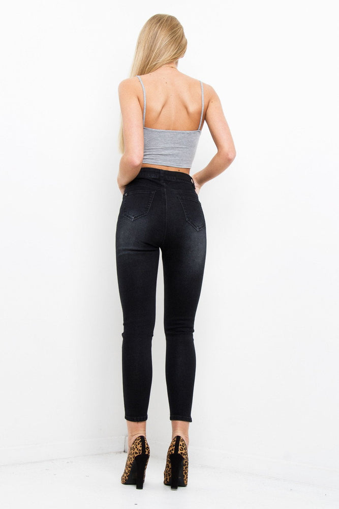 Lax High Waisted Washed Black Slim Mom Jeans - Liquor N Poker  LIQUOR N POKER