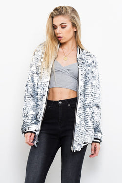 Mermaid Embellished Sequin Bomber Jacket - Liquor N Poker  Liquor N Poker
