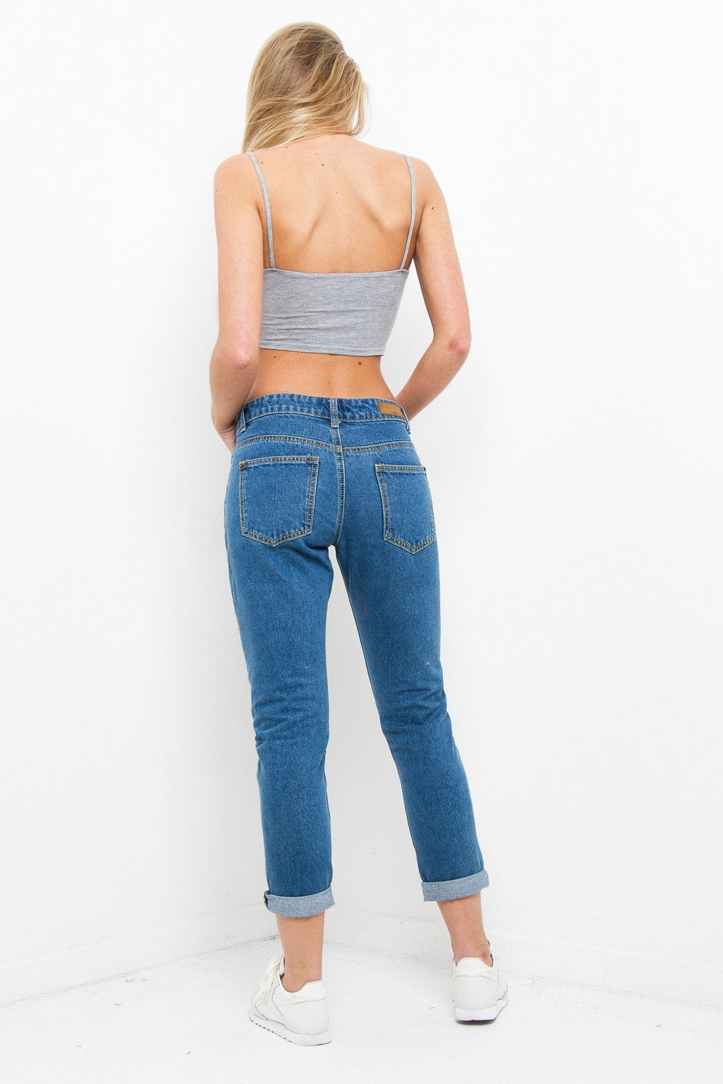 Midori Boyfriend Jean With Red Rose Embroidery In Stonewash - Liquor N Poker  Liquor N Poker