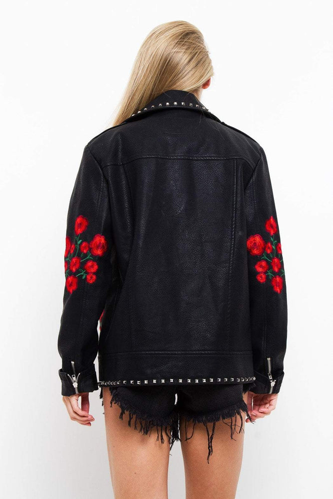 Roses Are Red Embroidered & Studded PU Jacket - Liquor N Poker  LIQUOR N POKER