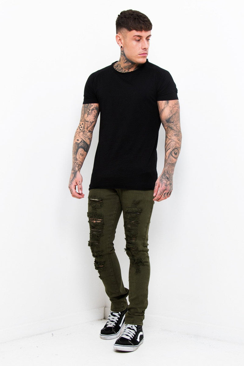 Faro Slim Jeans In Khaki With All Over Distressing And Rip - Liquor N Poker  Liquor N Poker