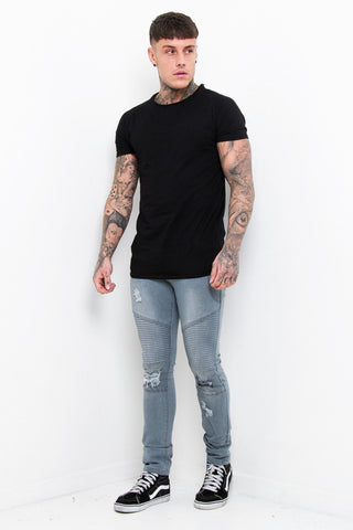 Harley Skinny Biker Jean with Ripped Knee In Acid Wash Black