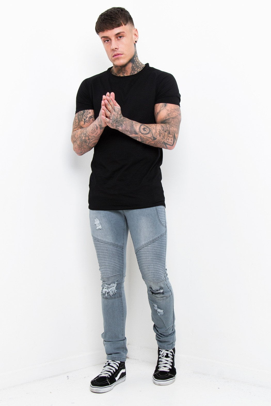 Harley Skinny Distressed And Ripped Biker Jeans In Light Grey - Liquor N Poker  Liquor N Poker