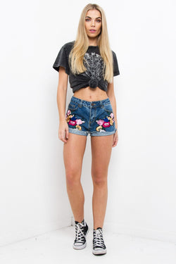 Topeka Blue Denim Shorts With Floral Patch - Liquor N Poker  Liquor N Poker