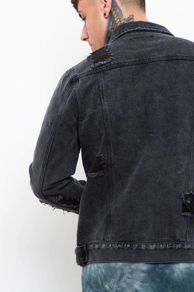 Norton Denim Jacket Washed Black With Distressing - Liquor N Poker  LIQUOR N POKER