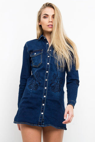 Portland Fitted Denim Shirt Dress With Black Rose Embroidery - Liquor N Poker  Liquor N Poker