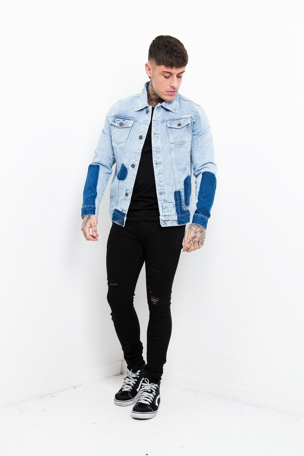 Norton Patchwork Denim Jacket In Light Indigo - Liquor N Poker  Liquor N Poker