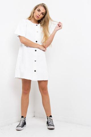 Missoula Denim Shift Dress In White - Liquor N Poker  Liquor N Poker