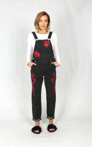 Wichita Washed Black Dungaree With Rose Embroiderey
