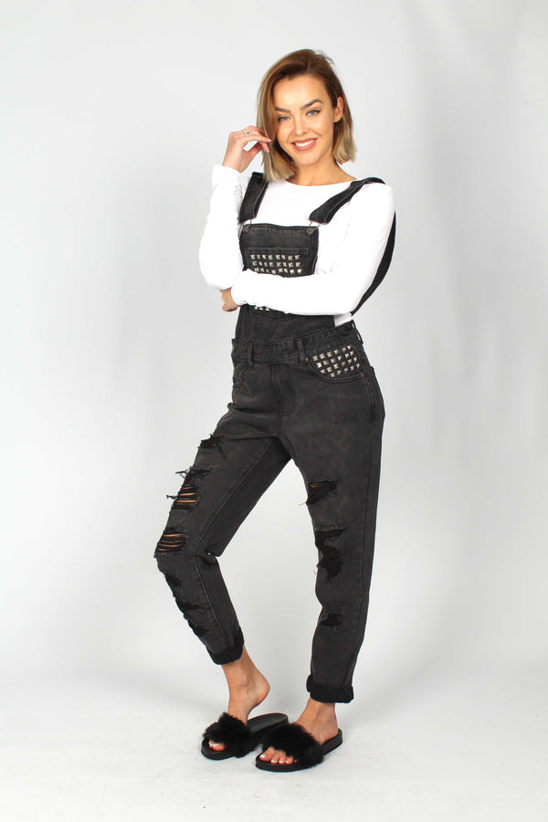 Wichita Washed Black Dungaree With Studded Pockets