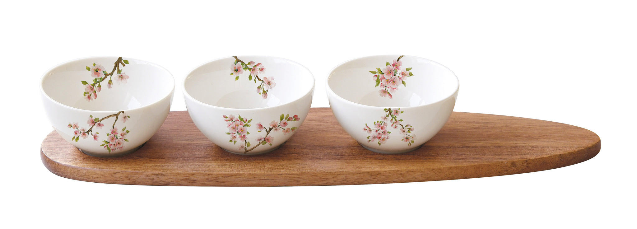 An appetizer set with 3 bowls