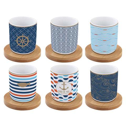 Set 6 coffee cups in porcelain & bamboo saucers 110 ml BORD DE MER