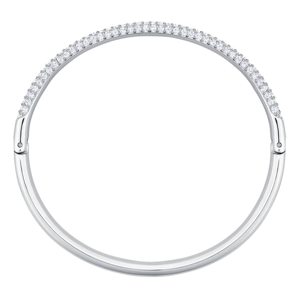 SWAROVSKI, STONE BANGLE, WHITE, RHODIUM PLATED